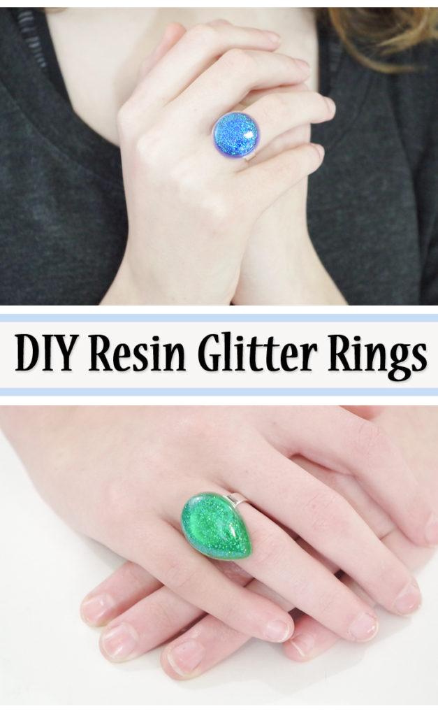 DIY resin glitter rings pinterest image