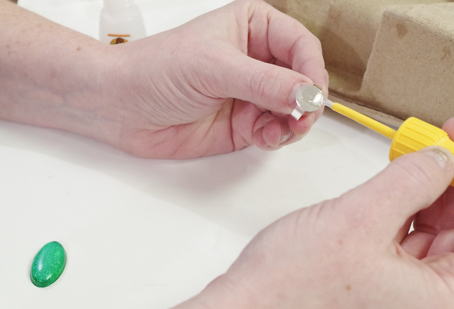 Resin Glitter Rings-add super glue to ring blank