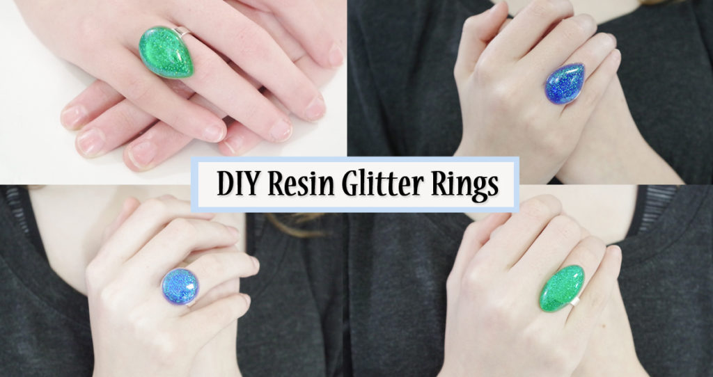 diy resin glitter rings social media image