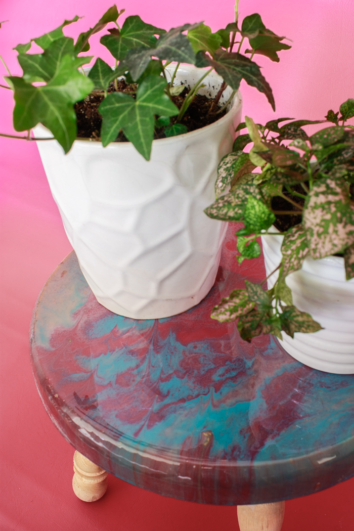 Create a beautiful plant stand using the poured resin technique!