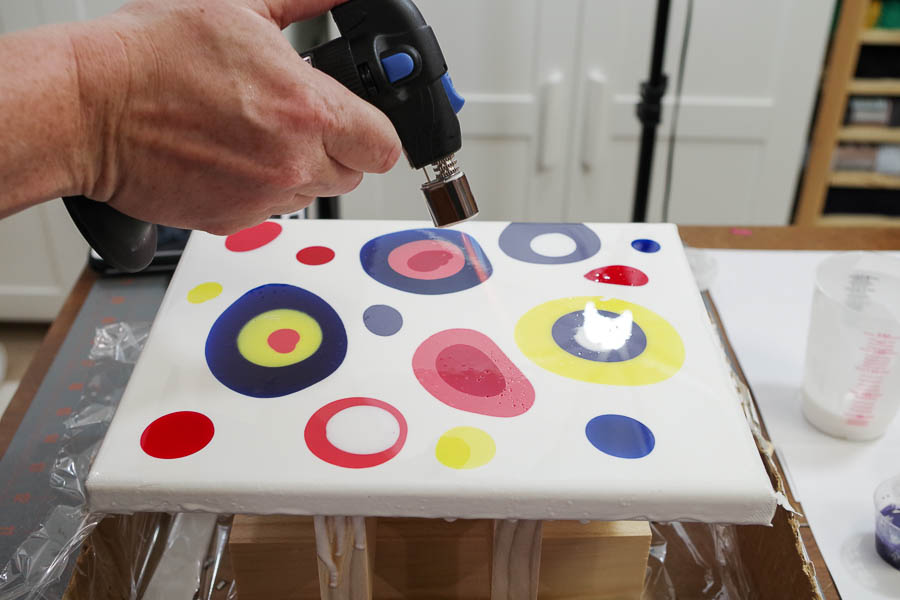 12 Colorful Dripped Resin Artwork - use micro butane torch to pop bubbles on surface