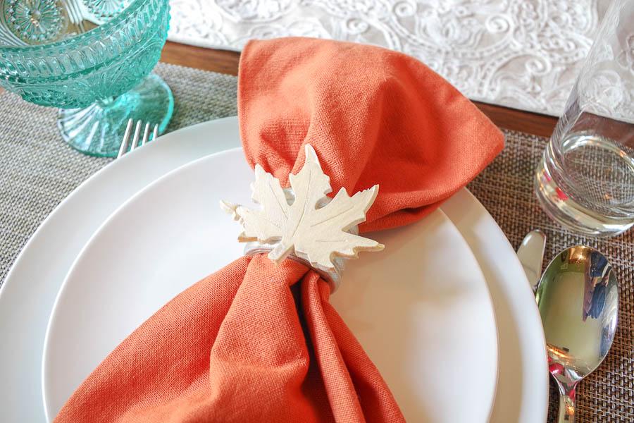 DIY Autumn Leaf Napkin Rings - finished napkin rings
