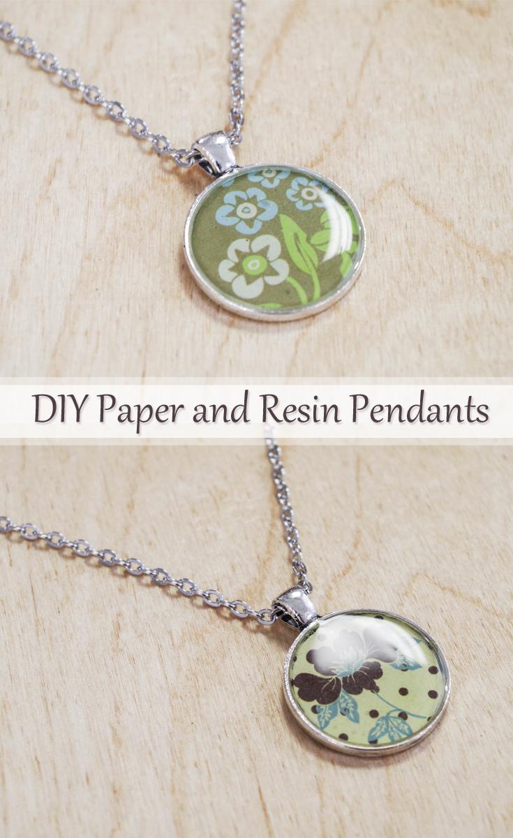 DIY Paper and Resin Pendants pinterest image