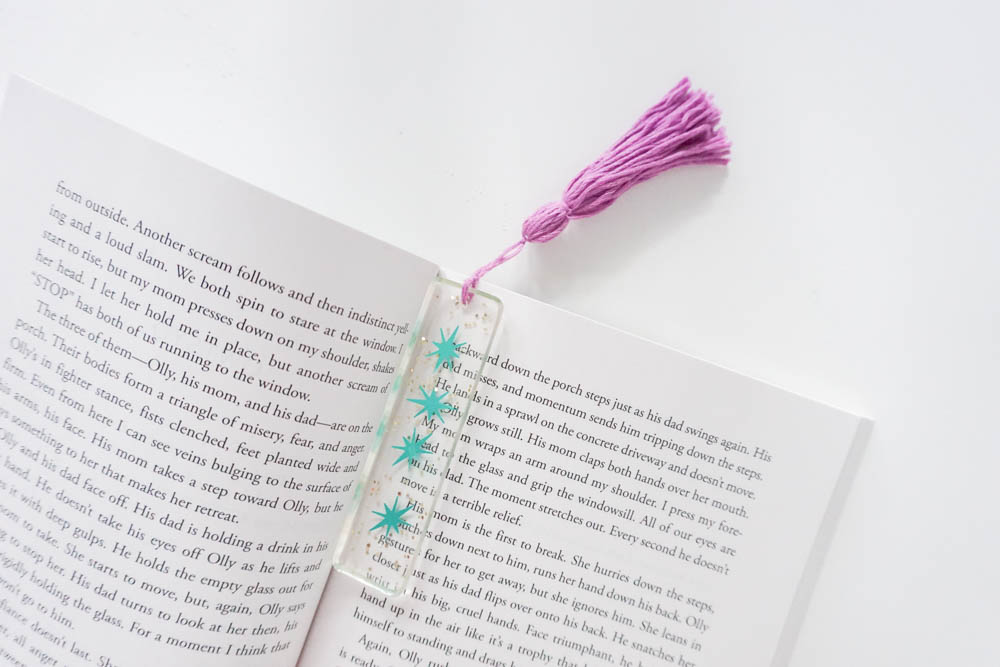 DIY resin bookmark in a book