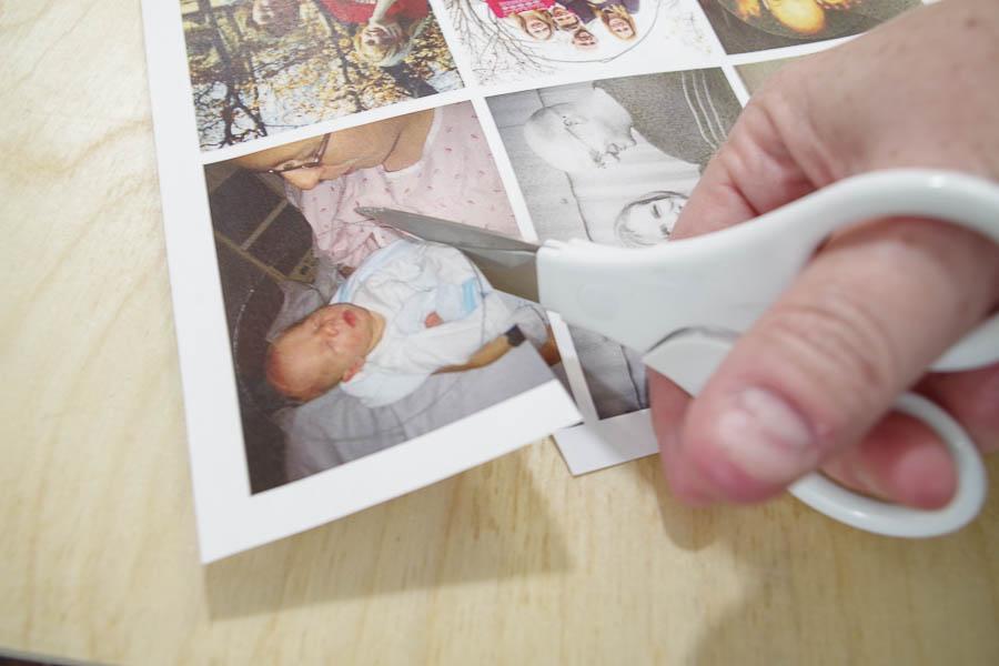 DIY Photo Magnets using resin in milk bottle lids - cut just inside traced line