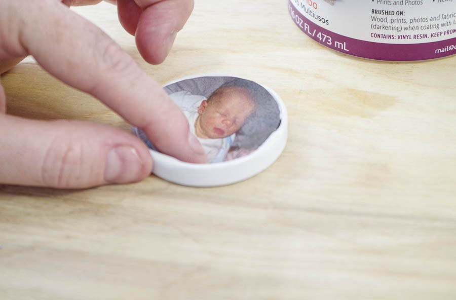 DIY Photo Magnets using resin in milk bottle lids - use ultra seal to glue in photo