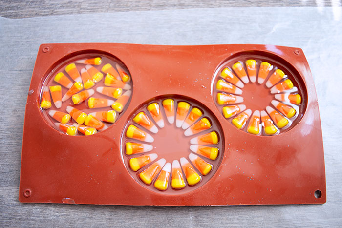 Clear resin layer in the candy corn