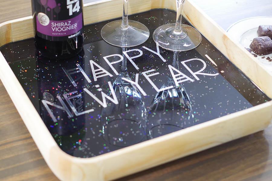 Happy New Year Glitter Resin Tray- final photo close