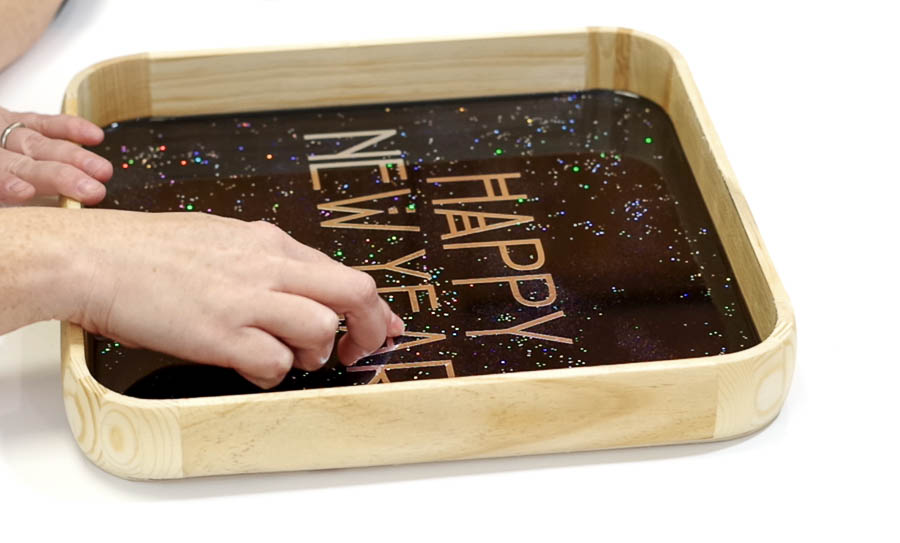 Happy New Year Glitter Resin Tray- press letters down firmly
