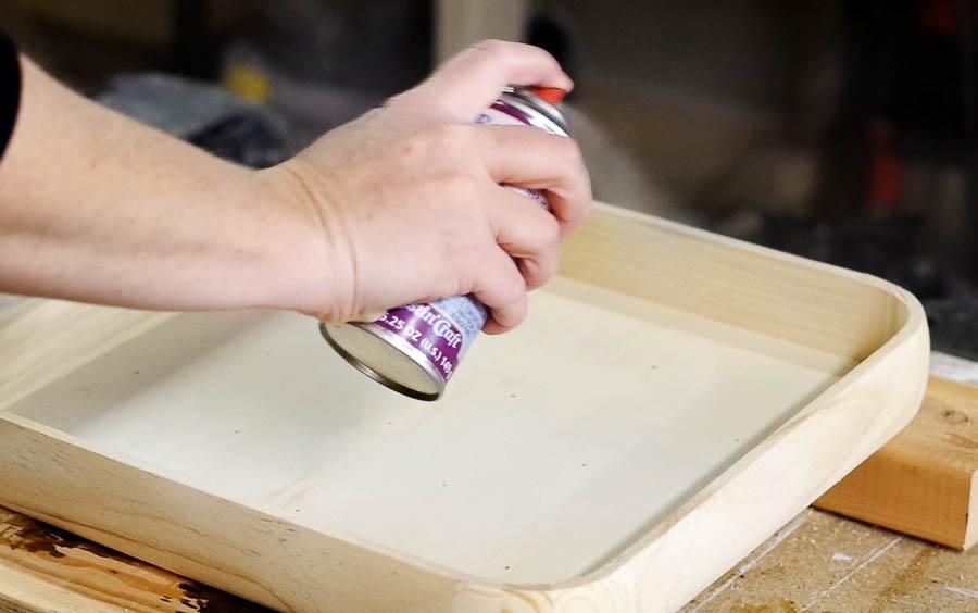 Happy New Year Glitter Resin Tray- Spray entire wooden tray with three coats of resin spray