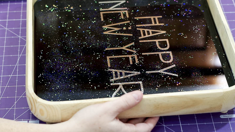 Happy New Year Glitter Resin Tray- room for hands underneath