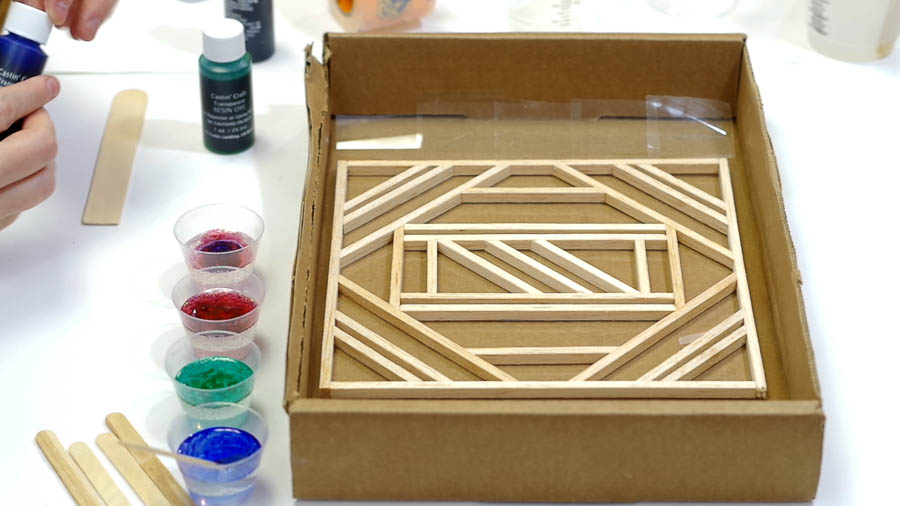 Wood Framed Faux Stained Glass- color smaller cups of resin