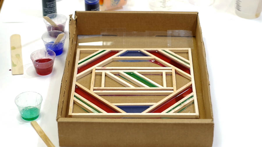 Wood Framed Faux Stained Glass- pour colored resin into frame as you like