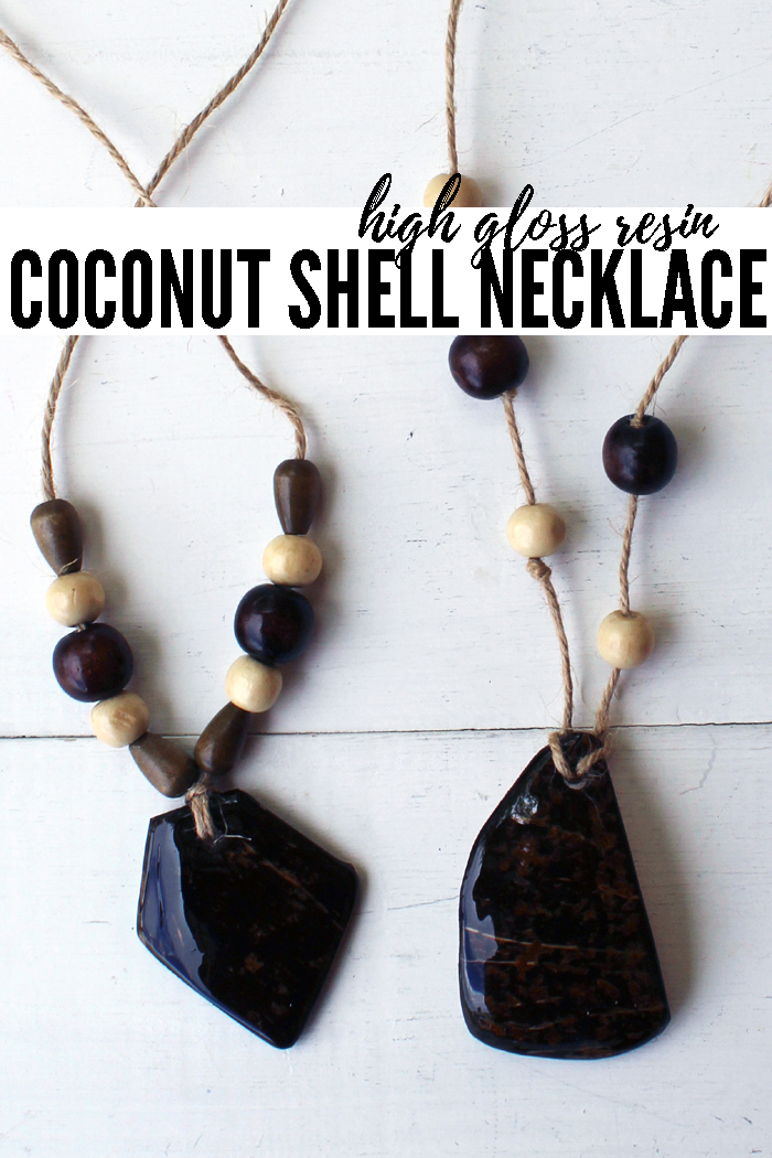 Coconut shell necklace DIY using Envirotex high gloss resin, natural jute twine and various wooden beads.