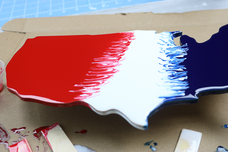 swirling red, white, and blue resin for patriotic decor