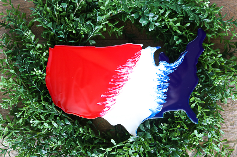 Adding united states cutout to a patriotic farmhouse wreath