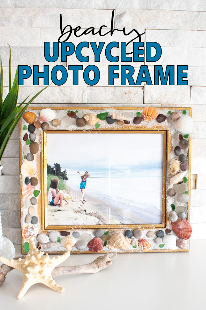 Display those summer memories in an Upcycled photo frame adorned in shells, sea glass, pebbles and sand!