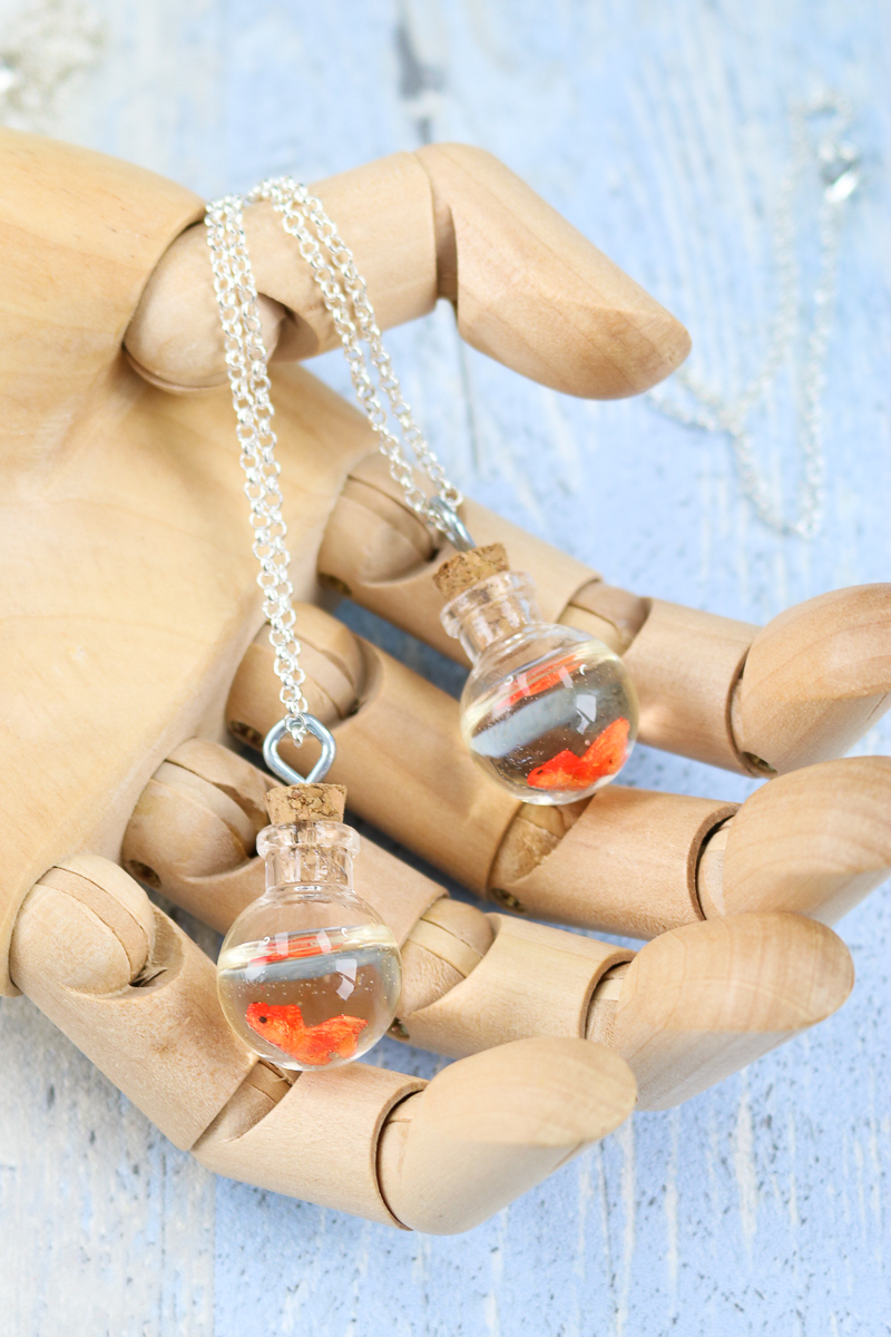 how to make a DIY fish bowl necklace