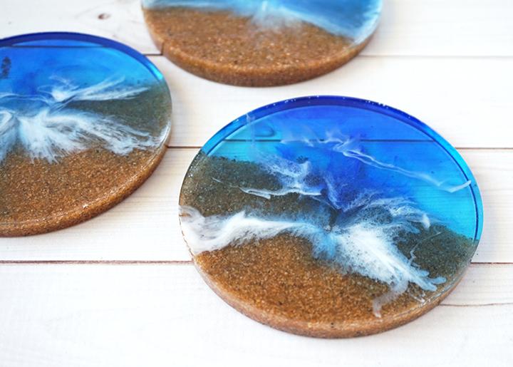 DIY Resin Beach Coaster Closeup