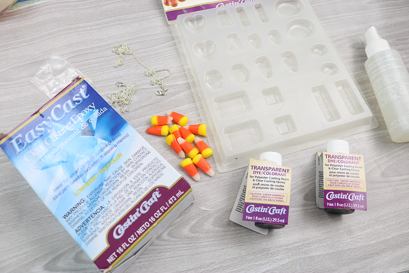 supplies to make a candy corn necklace