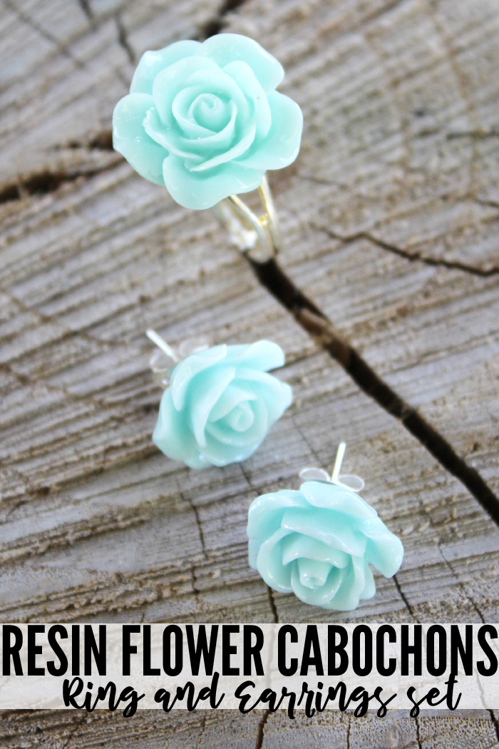 Make resin flower cabochon jewelry using EasyMold to make your own silicone mold and then FastCast and dyes to make as many varieties as your heart desires.