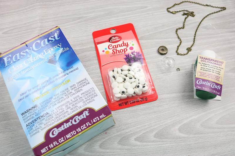 supplies to make halloween eyeball necklace
