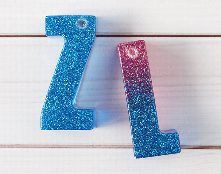 Resin Letters with a drilled hole