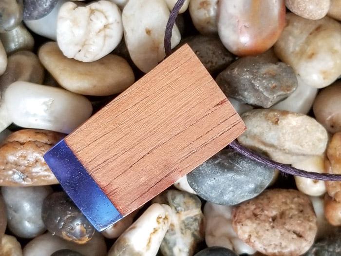 Blue resin wood pendant