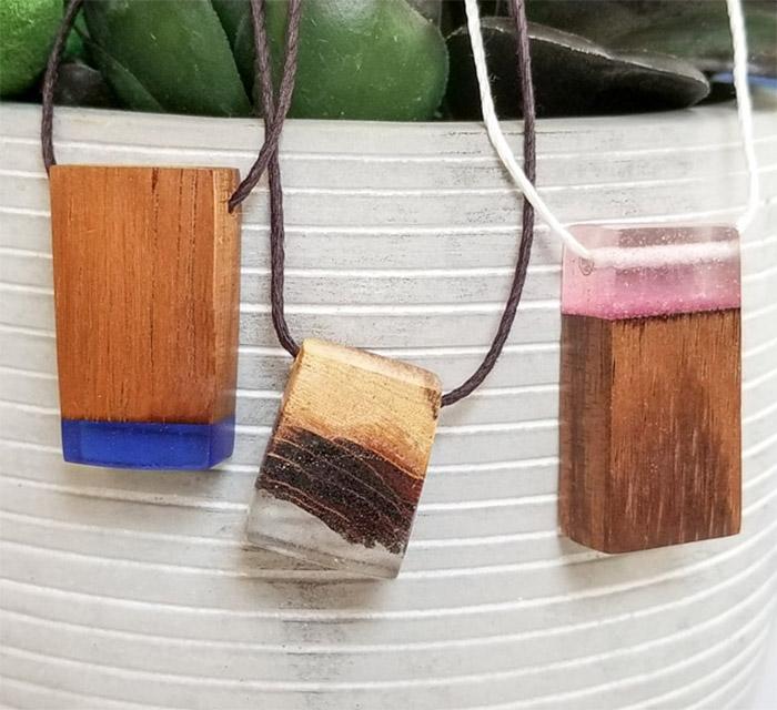 Resin and Wood Pendants