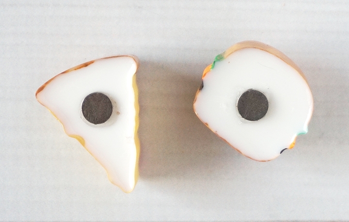 Resin food pieces with magnets on back