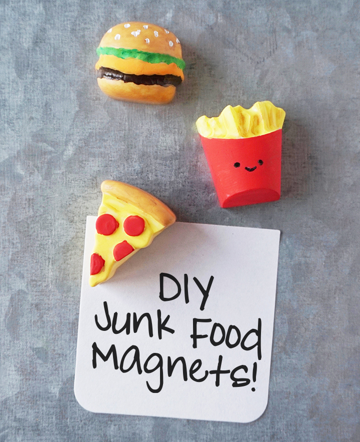 DIY Junk Food Magnets on metal holding a note