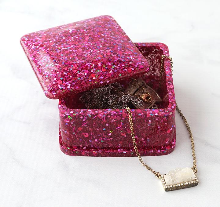 Glittered Resin Trinket Box with Jewelry