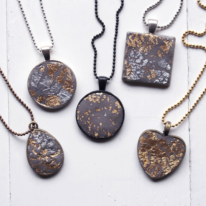 Make a stunning necklace using Envirotex Resin Jewelry Clay with gold and silver leafing. Great crafts for Summer camp or a Girl's night!
