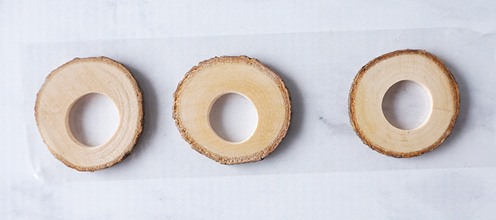 Wood slices on packaging tape
