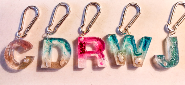 Ocean Elements Resin Initial Keychains