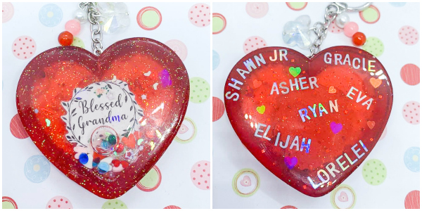 Personalized Resin Heart Shaker