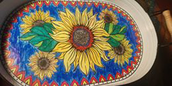 Painted Sunflower Resin Tray