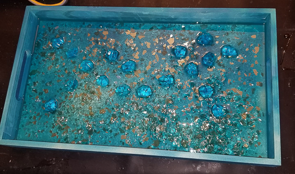 Gold Leaf and Gem Resin Tray