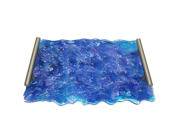 Blue Swirl Resin Tray