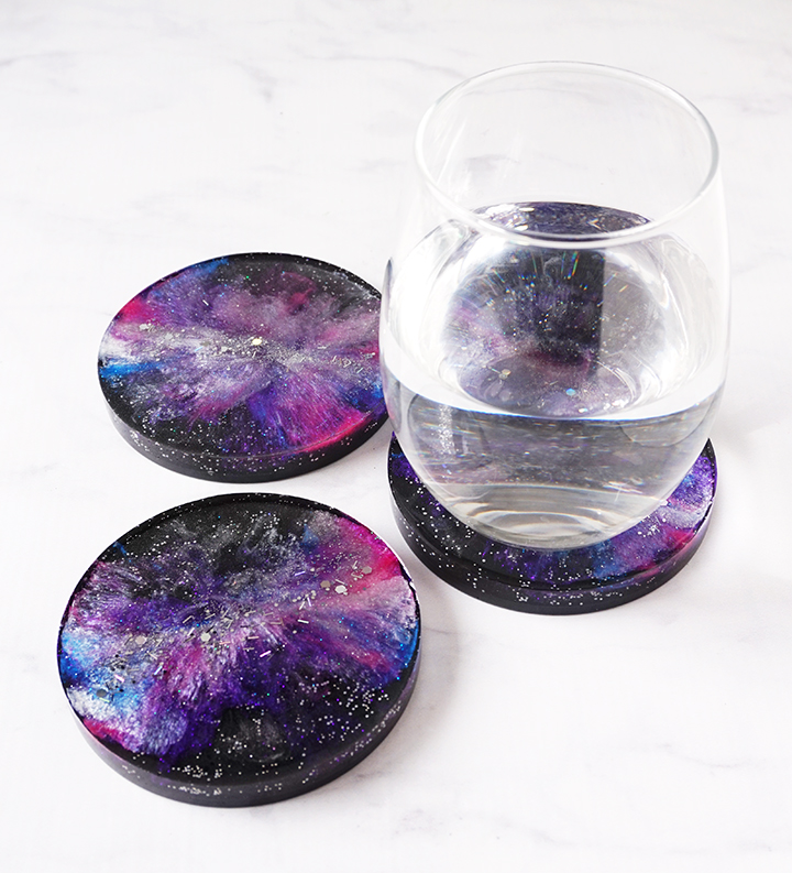 Galaxy Coasters with Drink Glass