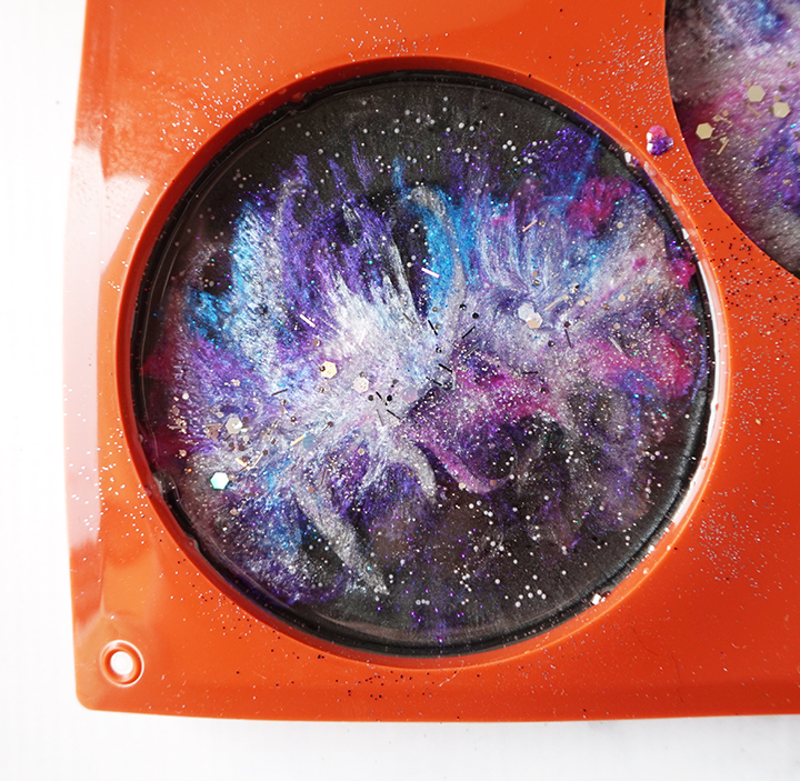 Line of Chunky Silver Glitter on Resin Galaxy Coaster