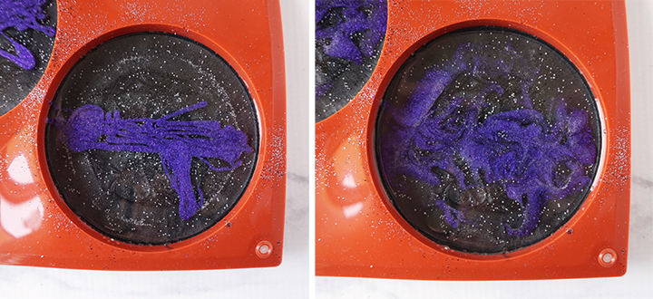 Layer of Purple Resin Mixture in Coaster Mold