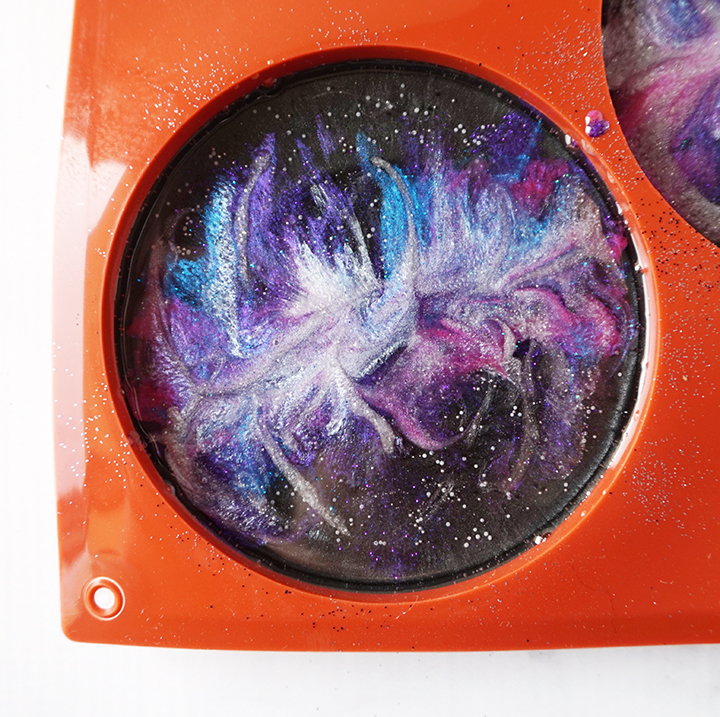 Swirls of Silver Resin in Galaxy