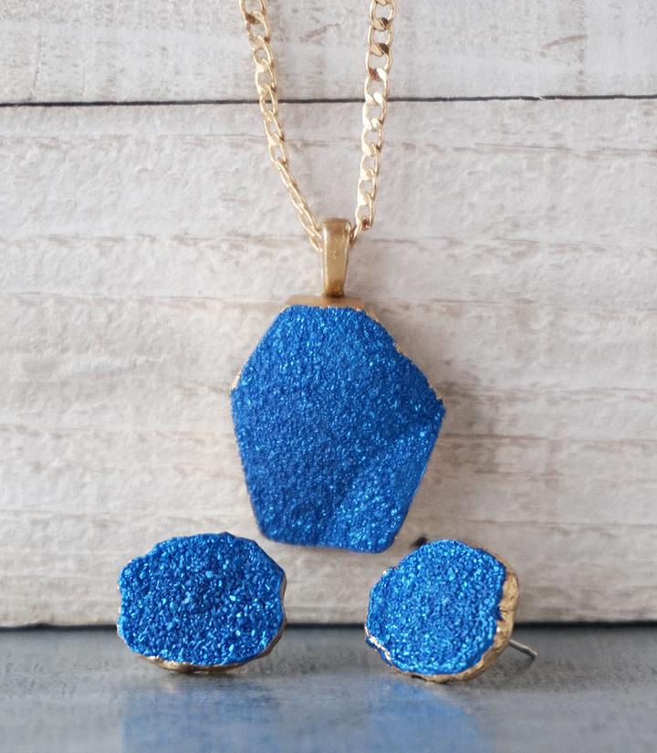 Faux Druzy Resin Jewelry Set
