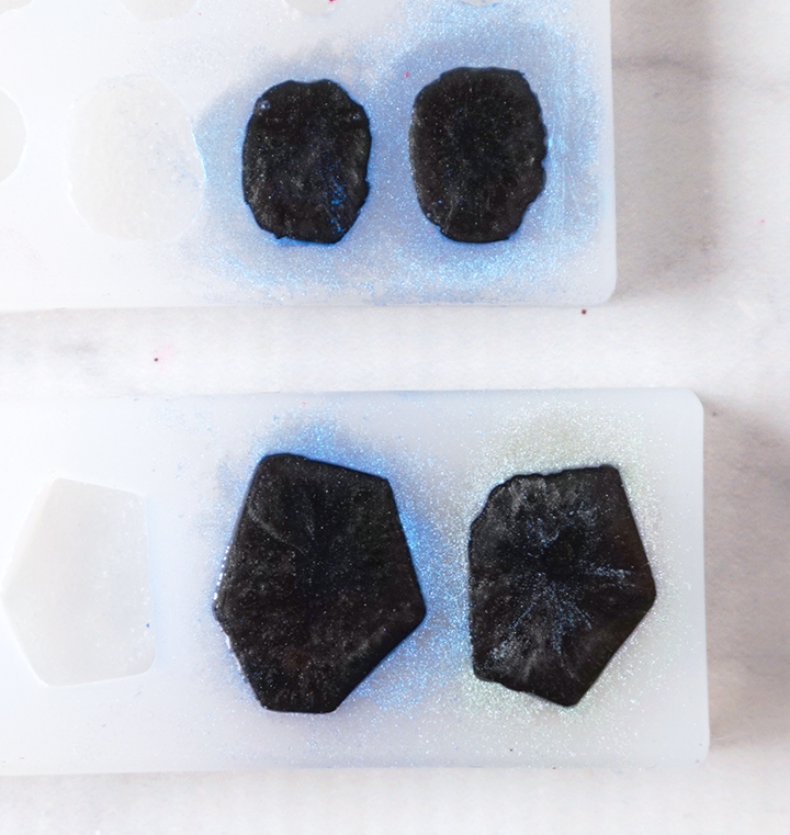 Black Resin in Silicone Mold
