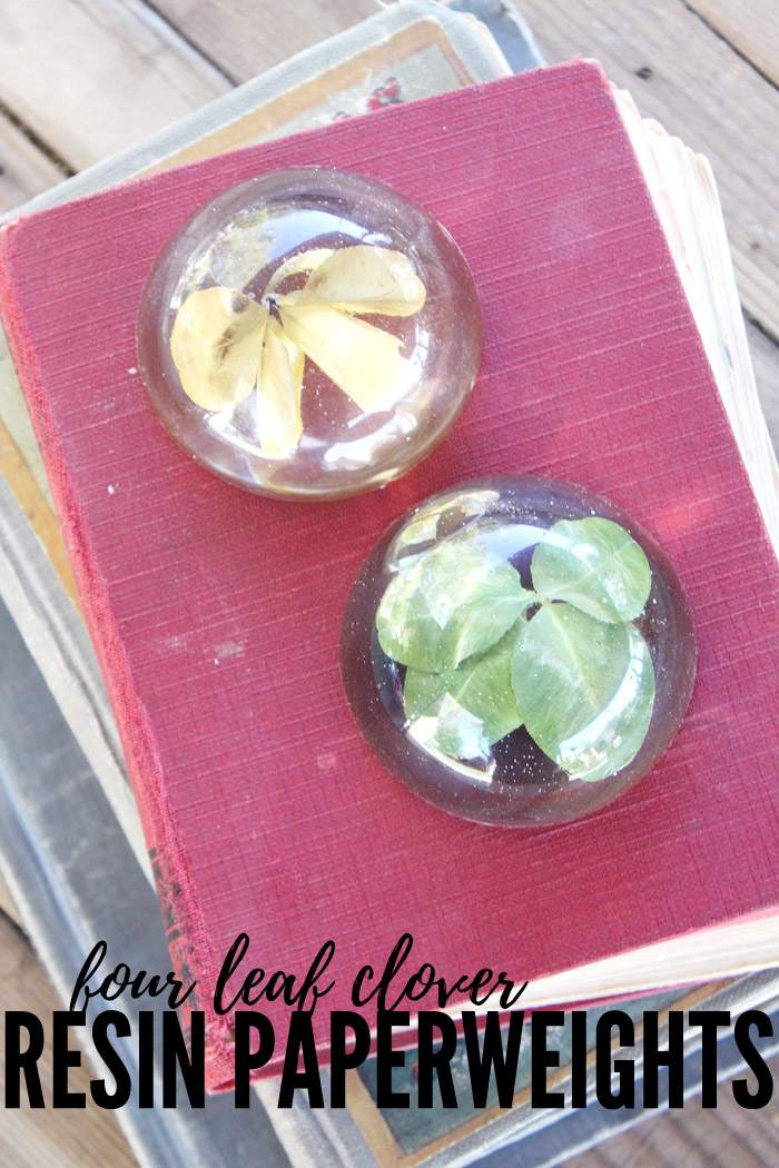 four leaf clover resin paperweights