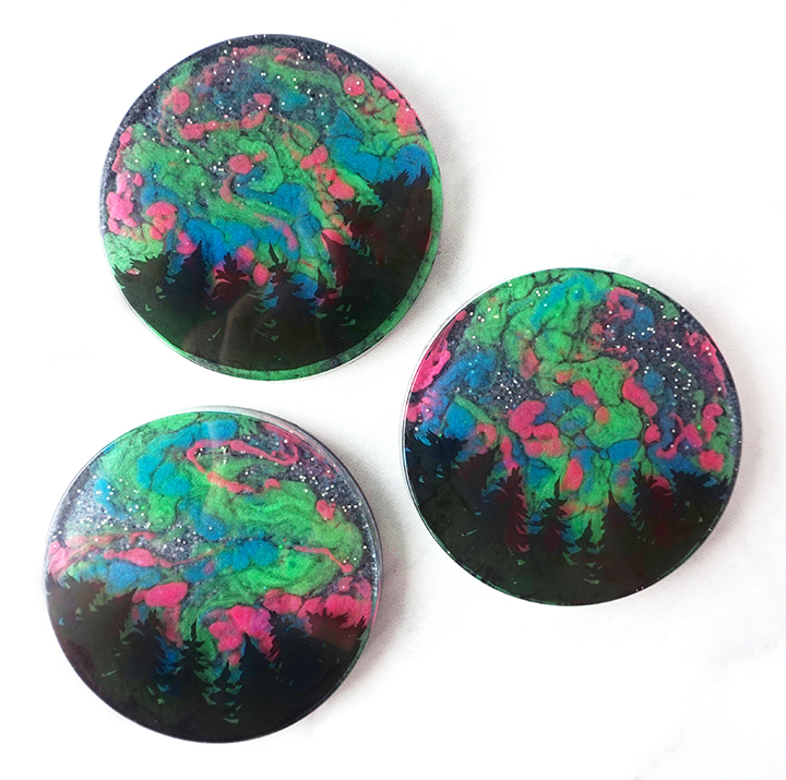 Northern Lights Resin Coasters