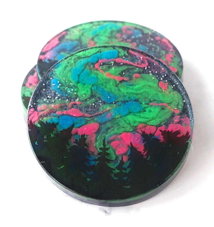 Stacked Northern Lights Resin Coasters