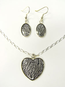 Jewelry Clay Foiled Pendant and Earring Set