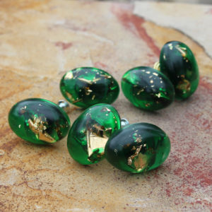 DIY: Gold Leaf Emerald Cabinet Knobs